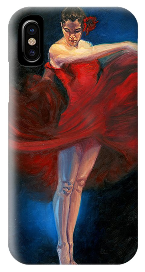 Dance IPhone X Case featuring the painting Flamenco Dancer by David Riley