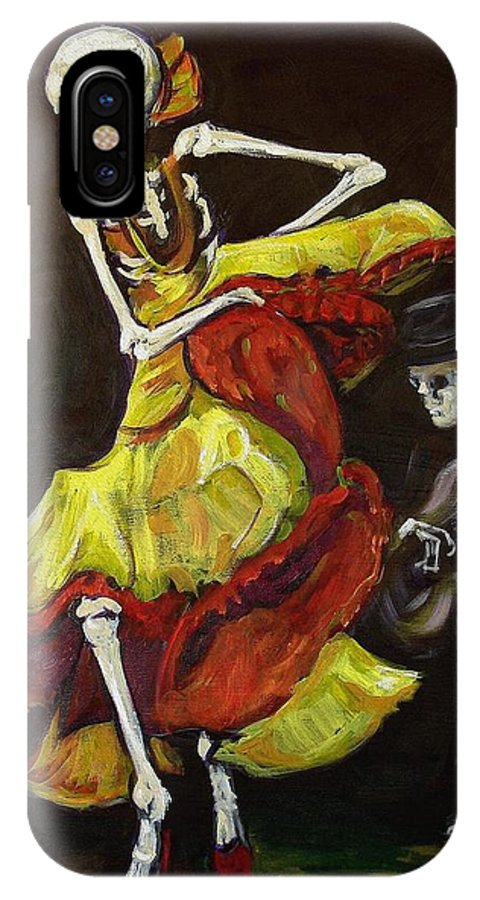 Muertos IPhone X Case featuring the painting Flamenco Vi by Sharon Sieben