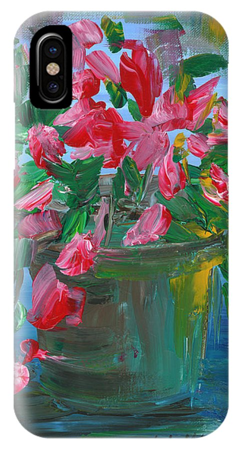 Flowers IPhone X Case featuring the painting Flaming Pink Flowers by Lyla Mitchell
