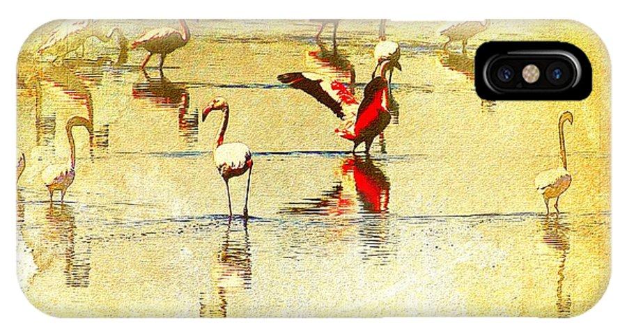 Flamingo Art IPhone X Case featuring the photograph Flamingo In Yellow by Ernestine Manowarda