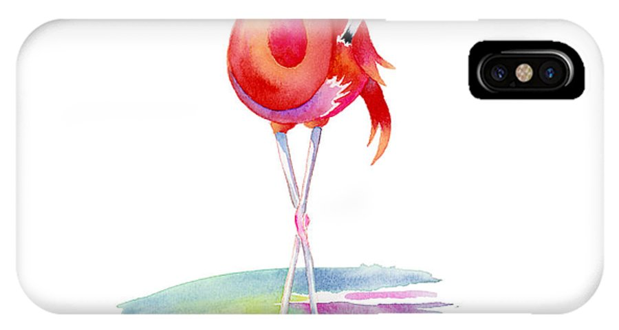 Flamingo IPhone X Case featuring the painting Flamingo Primp by Amy Kirkpatrick