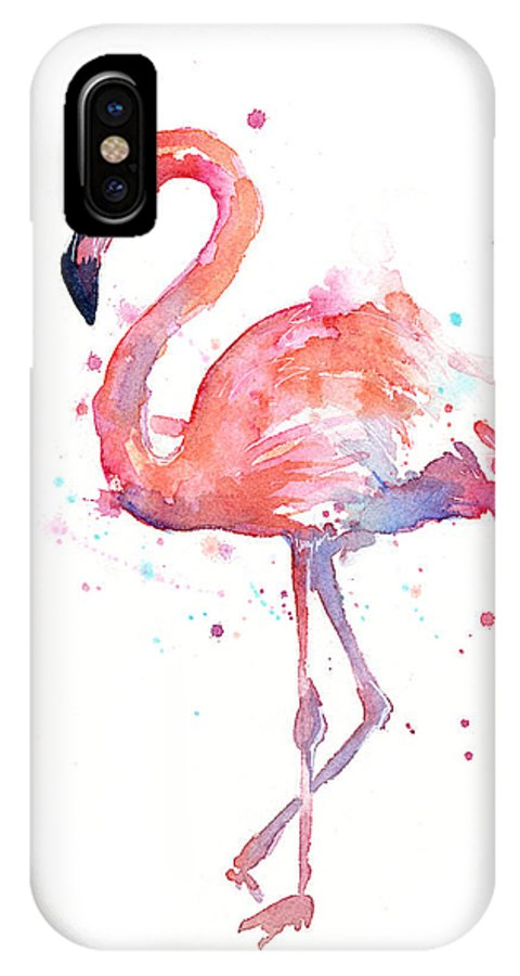 Bird IPhone X Case featuring the painting Flamingo Watercolor by Olga Shvartsur