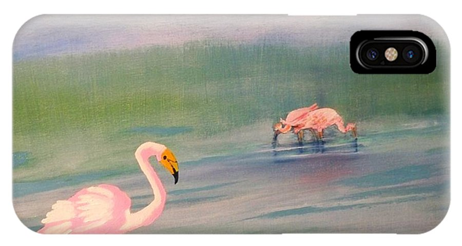 Painting Of Pick Flamingo IPhone X Case featuring the painting Flamingos Frolicking by Linda Bright Toth