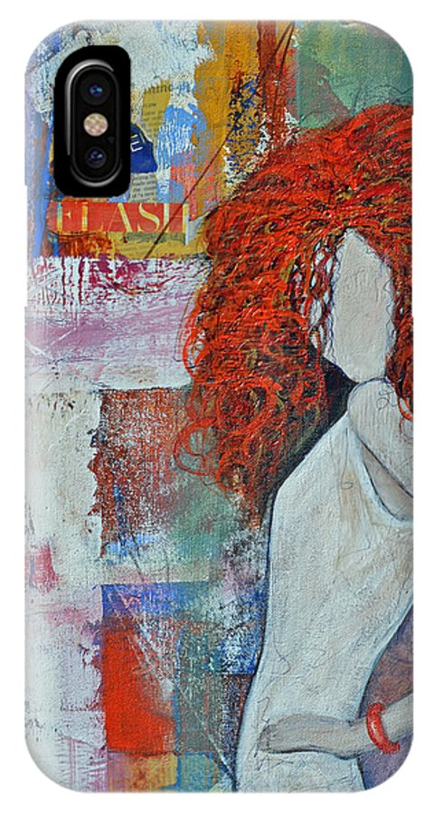 Red Hair IPhone X Case featuring the painting Flash Your Wild Side by Therese Misner