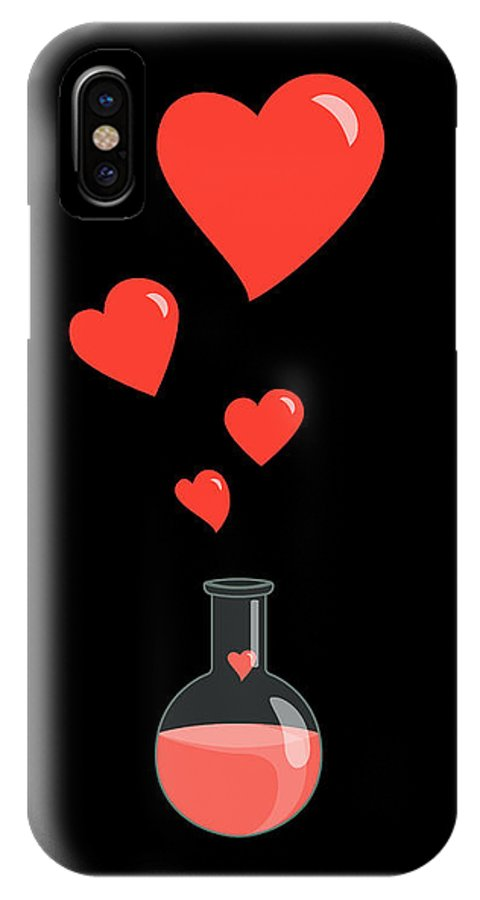 Geek Valentine IPhone X Case featuring the digital art Flask Of Hearts by Boriana Giormova