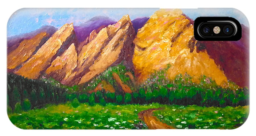 Mountain IPhone X Case featuring the painting Flat Iron Colorado by Francesca Kee