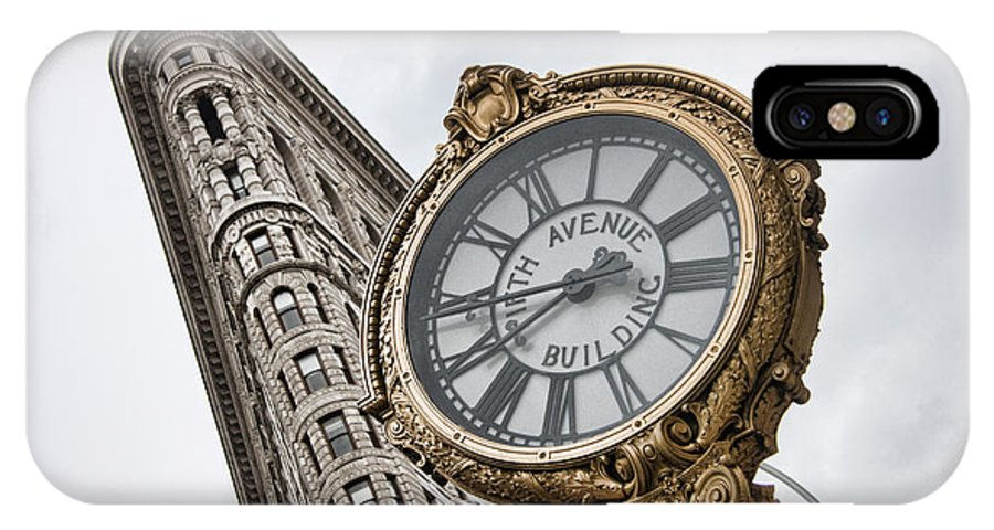 New York City IPhone X Case featuring the photograph Flatiron And Clock by June Marie Sobrito