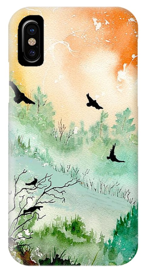 Watercolor IPhone X Case featuring the painting Flight by Brenda Owen