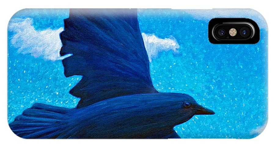 Raven IPhone X Case featuring the painting Flight by Brian Commerford