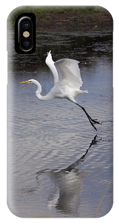 Great Egret IPhone X Case featuring the photograph Flight Time 2310 by Tahnee-Wesley Grant