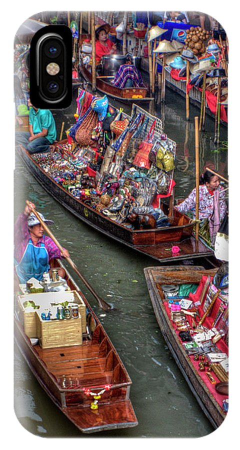 Boats IPhone X Case featuring the photograph Floating Market by Douglas J Fisher