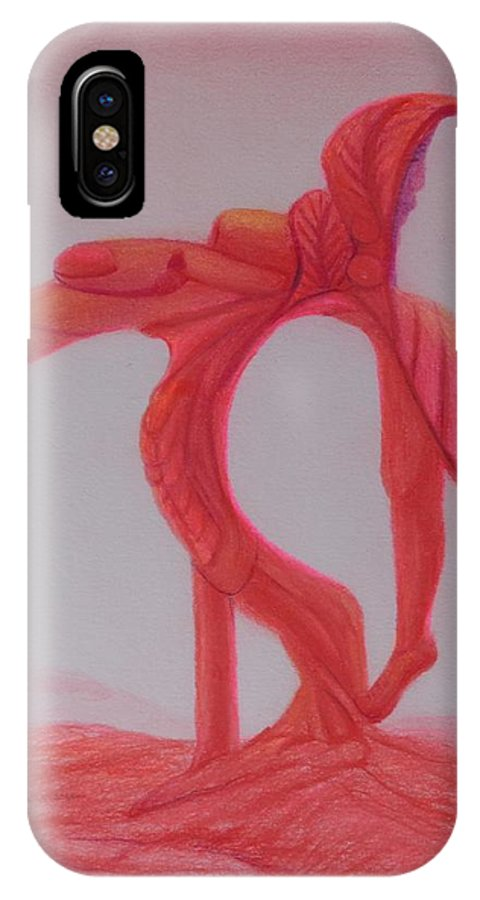 Red Planet People IPhone X / XS Case featuring the drawing Flor Cara Soy by Isaac Leal