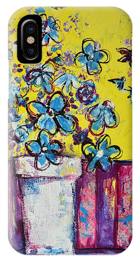 Floral Still Life IPhone X Case featuring the painting Floral Still Life Blue Hues by Patricia Awapara