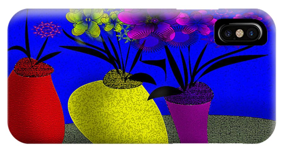 Abstract Flowers IPhone X Case featuring the digital art Floral Wonders by Iris Gelbart