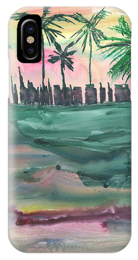 Cityscape IPhone X Case featuring the painting Florida City-skyline2 by Mickey Krause