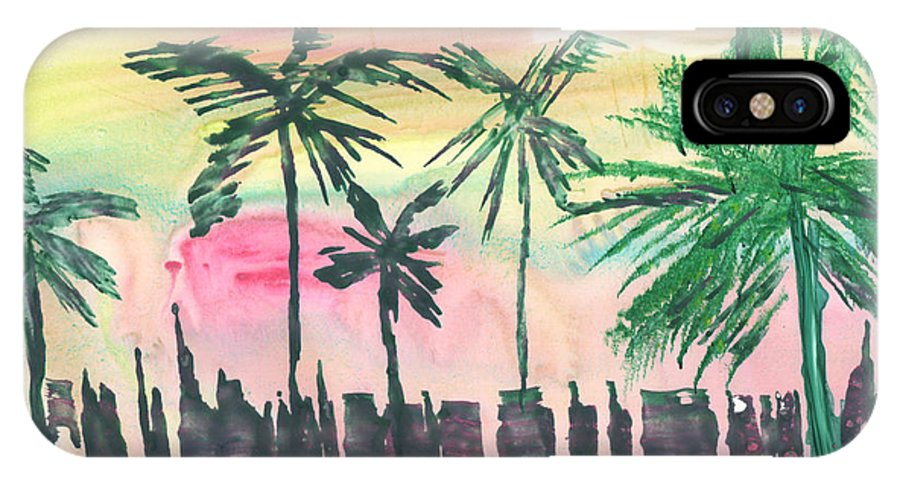 Palm Trees IPhone X Case featuring the painting Florida City-skyline3 by Mickey Krause