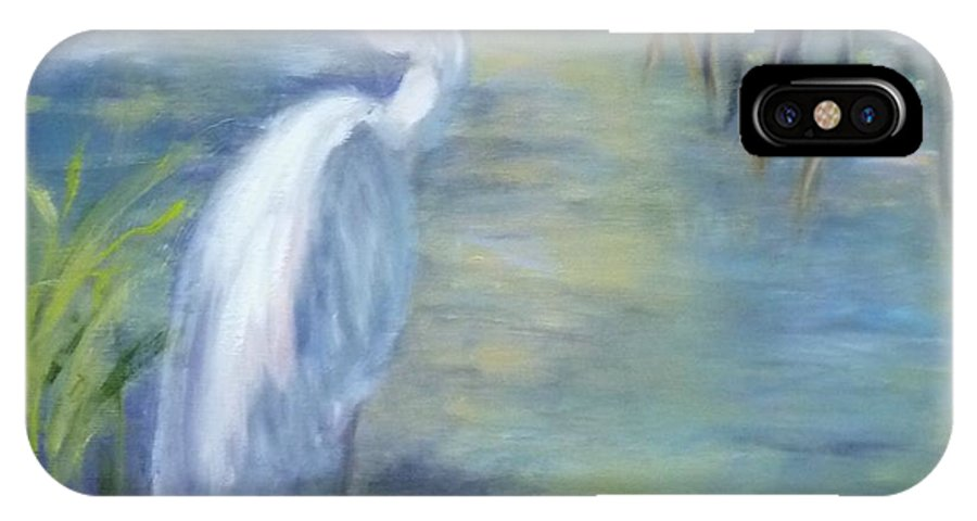 Egret IPhone X Case featuring the painting Florida Keys Egret by Joyce Spencer