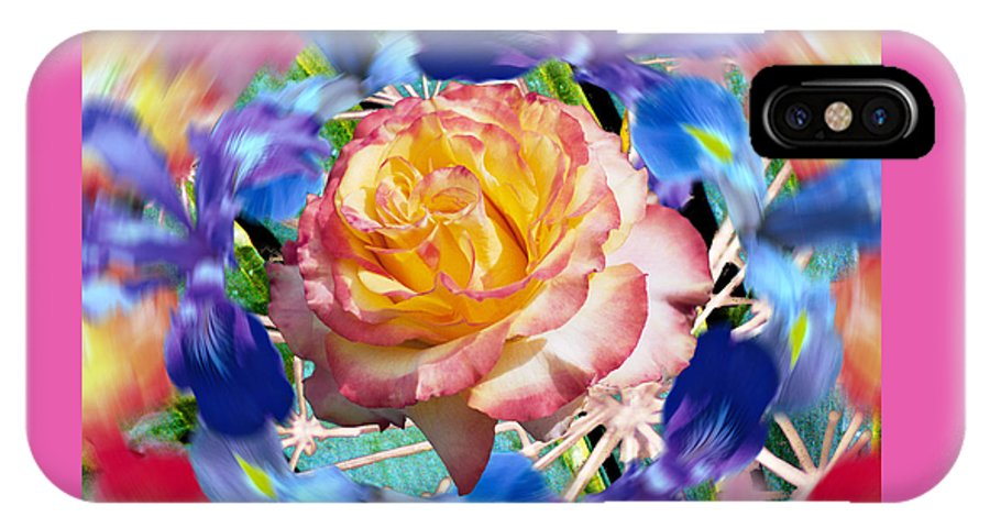 Flowers IPhone X Case featuring the digital art Flower Dance 2 by Lisa Yount