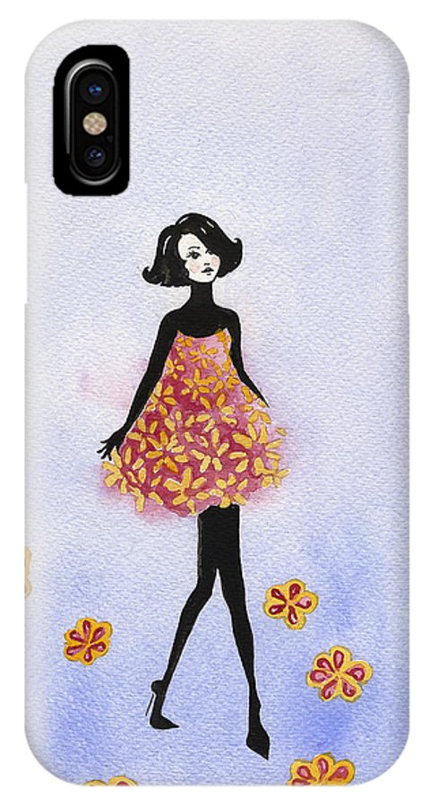Esthers Prints & Cards IPhone X Case featuring the painting Flower Dress Girl by Esther Willsher