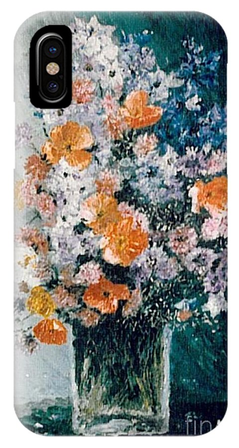 Flower IPhone X Case featuring the painting Flower Field by Sorin Apostolescu