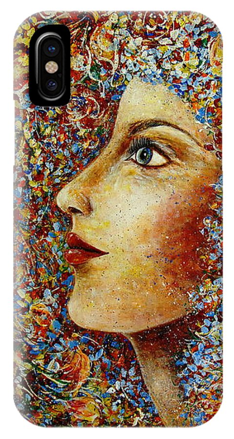 Flower Goddess IPhone X Case featuring the painting Flower Goddess. by Natalie Holland