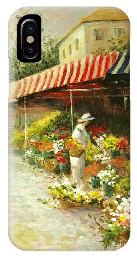 Canvas Prints IPhone X Case featuring the painting Flower Market by Madeleine Holzberg