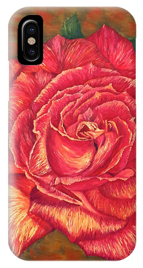 Rose IPhone X Case featuring the painting Flower Of Love by Francesca Kee