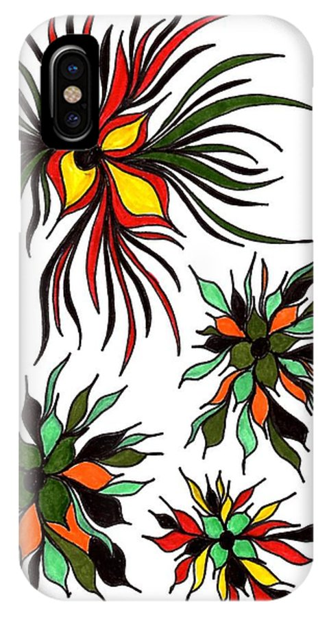 Yellow IPhone X Case featuring the drawing Flower Power 2 by Laura Briganti