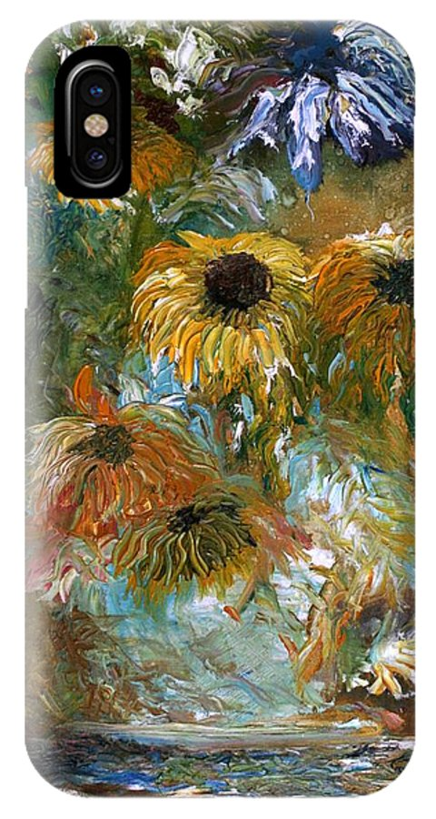 Oil Painting IPhone X Case featuring the painting Flower Rain by Jack Diamond