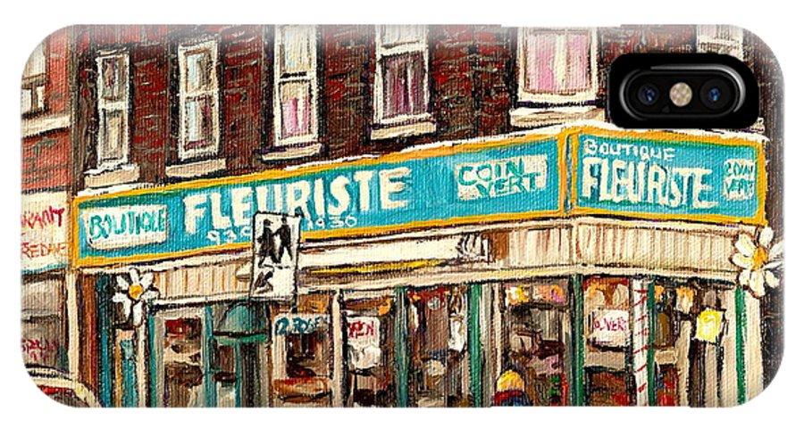Boutique Fleurist Coin Vert IPhone X Case featuring the painting Flower Shop Rue Notre Dame Street Coin Vert Fleuriste Boutique Montreal Winter Stroll Scene by Carole Spandau