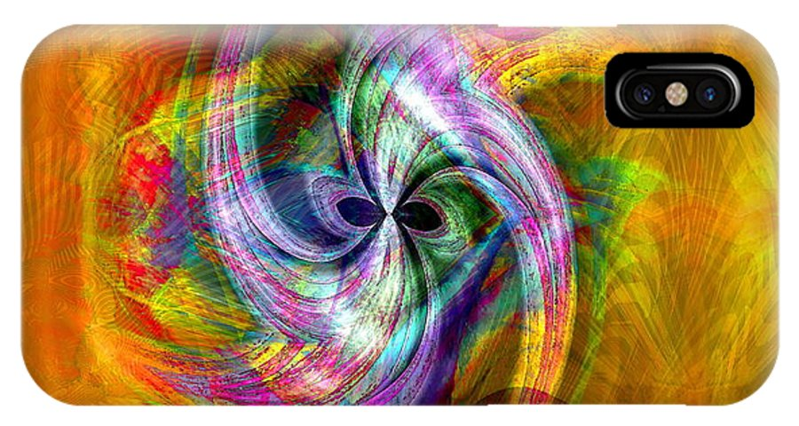 Flower IPhone X Case featuring the digital art Flower Twist by Visual Artist Frank Bonilla