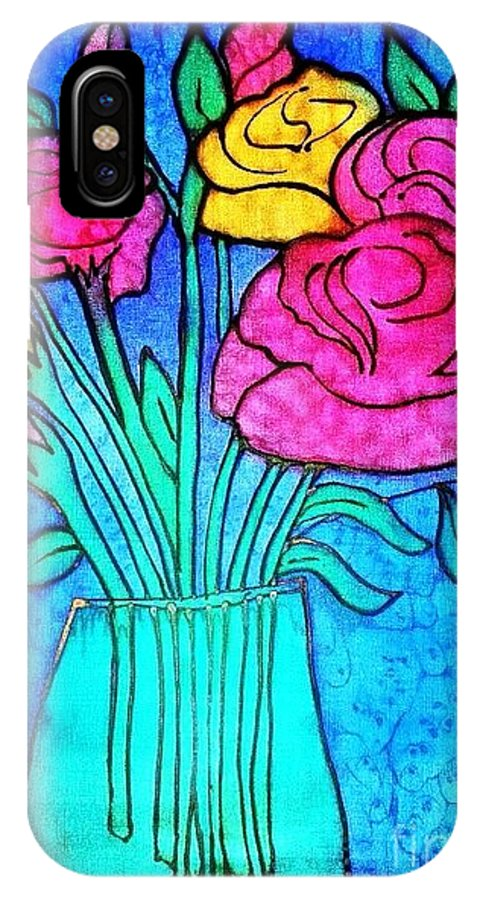 Flower IPhone X Case featuring the painting Flower Vase by Dye n Design