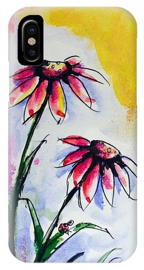 IPhone X Case featuring the painting Flowers And Ladybug by Hae Kim