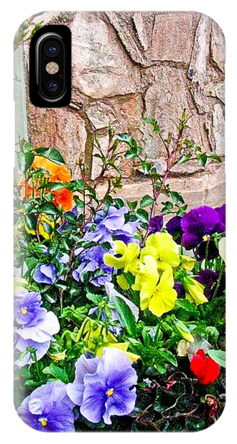 Flowers IPhone X Case featuring the photograph Flowers By The Wall by Steve Purifoy