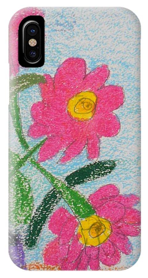 Oil Pastel Paints IPhone X Case featuring the pastel Flowers by Epic Luis Art