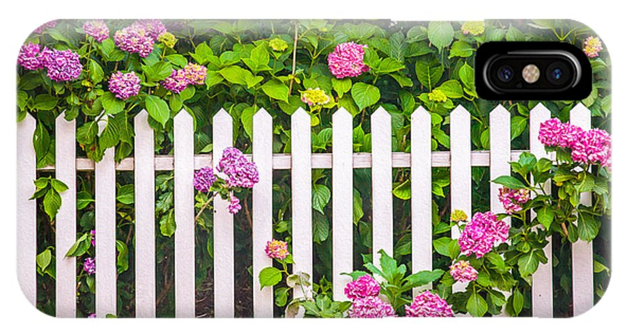 Flowers IPhone X Case featuring the photograph Flowers - Floral - White Picket Fence by Gary Heller
