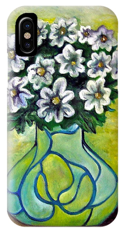 Flowers Floral Yellow Green Blue IPhone X Case featuring the painting Flowers For Jenny by Martel Chapman