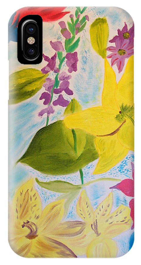 Flowers IPhone X Case featuring the painting Flowers For Mom by Meryl Goudey