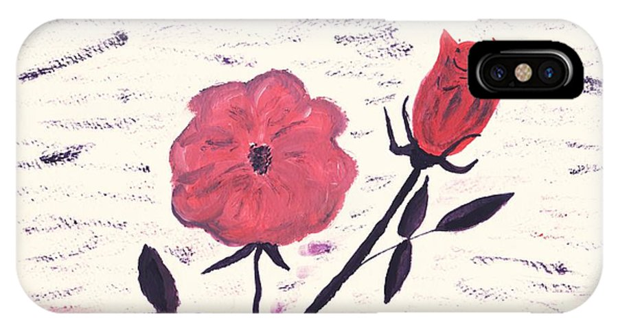 Floral Art IPhone X Case featuring the painting Flowers For Tonya And Myrtle by Myrtle Joy