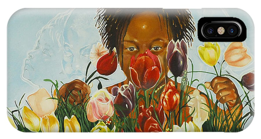 Little Black Boy Presenting Flowers To His Mother; Boy IPhone X Case featuring the painting Flowers For You Mama by Belle Massey