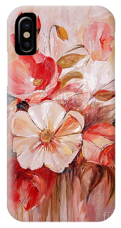 Abstract IPhone X Case featuring the painting Flowers I by Silvana Abel