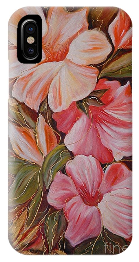 Abstract IPhone X Case featuring the painting Flowers II by Silvana Abel