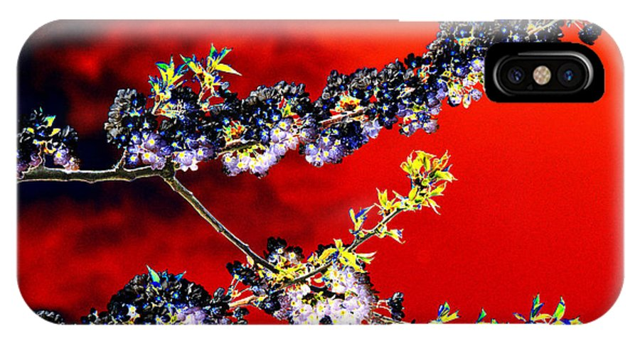 Flowers IPhone X Case featuring the digital art Flowers In Red by Carol Lynch