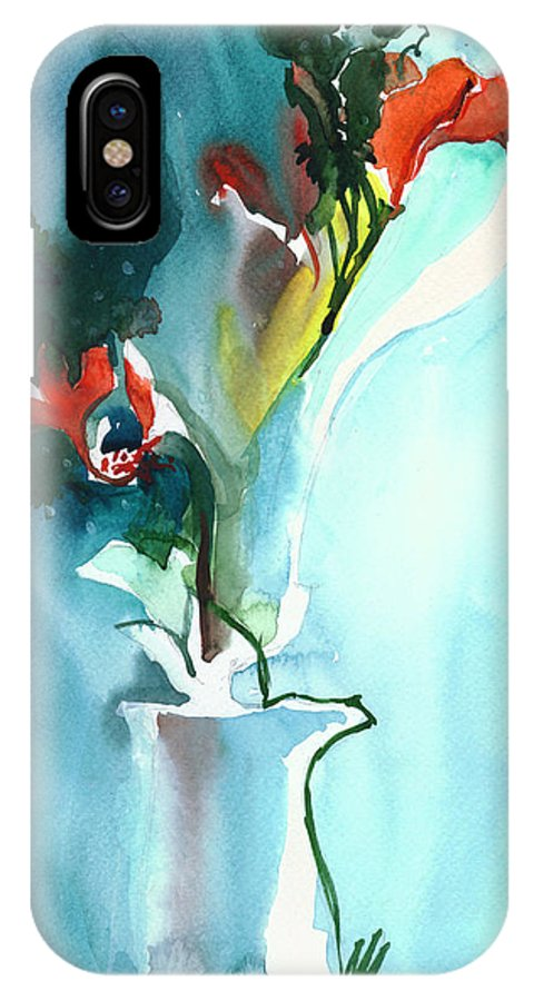 Nature IPhone X Case featuring the painting Flowers in Vase by Anil Nene