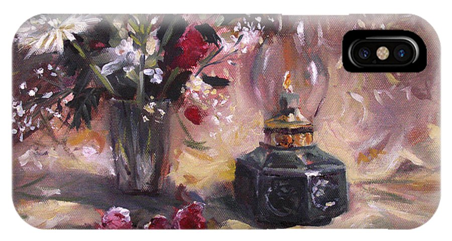 Flowers IPhone Case featuring the painting Flowers With Lantern by Nancy Griswold