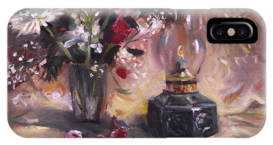 Flowers IPhone X Case featuring the painting Flowers with Lantern by Nancy Griswold