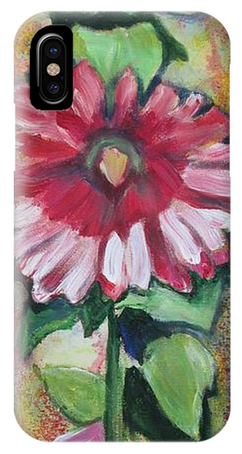 Hollyhock IPhone X Case featuring the painting Flowery Days 11 by Sheila Diemert