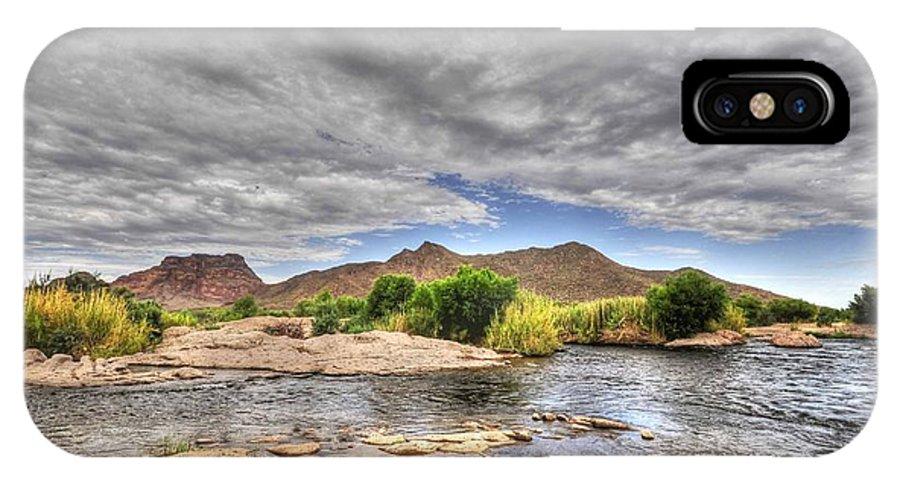 River Landscape Cloudscape Nature Mountain Arizona IPhone X Case featuring the photograph Flowing River by Eduardo Dinero