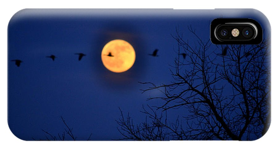 Moon IPhone X Case featuring the photograph Fly Bye by Patti Raine