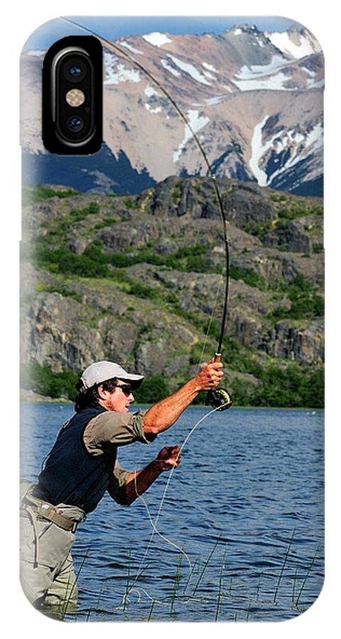 Activity IPhone X Case featuring the photograph Fly Fishing In Patagonia by Beck Photography